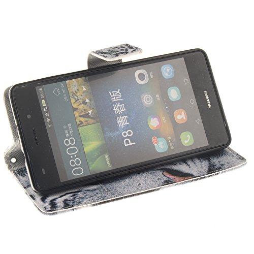 Coque pour Huawei P8 Lite, ISAKEN Élégant Style PU Cuir Flip Magnétique Portefeuille Etui Housse de Protection Coque Étui Case Cover avec Stand Support pour Huawei P8 Lite 5 Pouces (Dream Catcher) Tigre Blanc