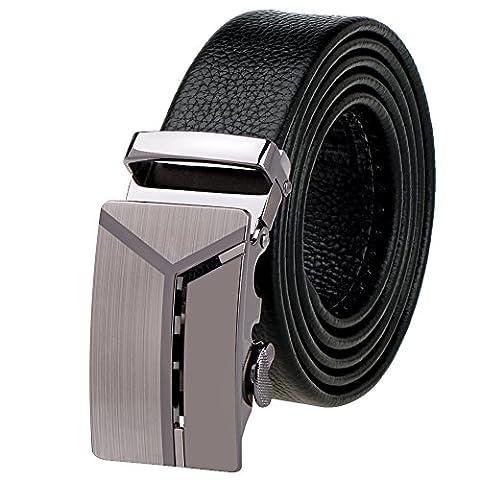 Vbiger Men's Shining Metallic Buckle Leisurable Business Cowhide Leather Belt