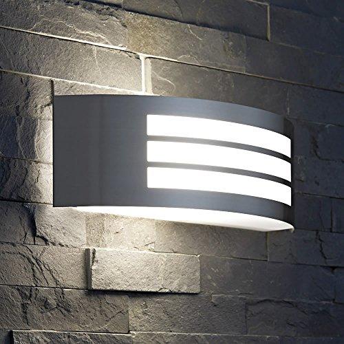 Biard \'Louvre\' Aplique Curvo para Iluminación de Exterior - Acero Inoxidable Cromado - Modelo Moderno - Ideal para Jardín, Patio y Terraza (E27, IP44)