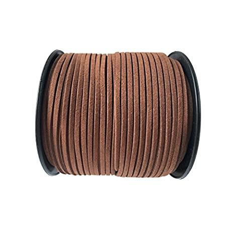 GoFriend 100 Yards Suede Cord Lace Faux Leather Cord Jewelry Making Beading Craft Thread String 3mm (Coffee 1