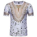 Longra T-Shirt Herren, 2018 Neu Herren Afrikanische Kleidung Sommer Traditionelle Beiläufige Dashiki T-Shirt Männer African Print Kurzarmshirt Bluse Top Modisch Freizeithemden (M, White)