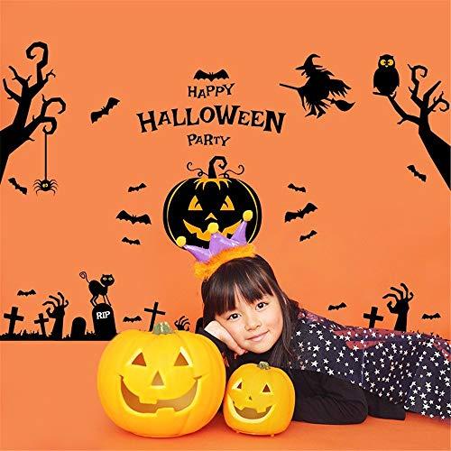 Happy Halloween Party Spinne Kürbis Licht Hexe Eule Stick Baum Mädchen Junge Kinderzimmer Wohnzimmer Dekoration Pvc Wasserdichte Wandaufkleber Diy Wandbild Aufkleber ()