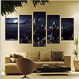 XLST Cadre Mural Art déco imprimé HD 5 pièces Affiches de décor de château de l'école Harry Potter,B,30x50x2+30x70x2+30x80x1