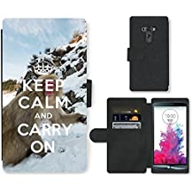 PU Cuir Flip Etui Portefeuille Coque Case Cover véritable Leather Housse Couvrir Couverture Fermeture Magnetique Silicone Support Carte Slots Protection Shell // Q01015493 keep calm and carry on 740 // LG G3