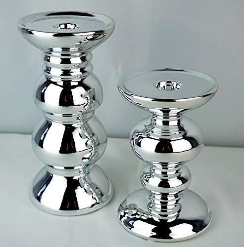 Glas Art Kerzenhalter Kerzenständer im 2er Set Silber glänzend aus Keramik Modern Dekoratione