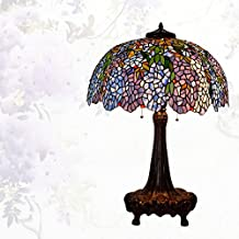 Lámpara de Tiffany estilo/Continental de lámpara de mesa creativos vintage/Lámpara de noche dormitorio Living comedor/ Lámpara de vidrio decorativo de Wisteria-F
