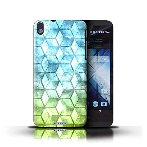 Kobalt® Imprimé Etui / Coque pour HTC Desire 816 / Jaun/Bleu conception / Série Cubes colorés Bleu/verd