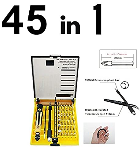6089B 45 in 1 JACKLY Mobile Phone Repair Tools Kit Screwdriver Set Kit With Tweezers and Extension Shaft For Computer Cell Phone Clock Watch Electronics-Repair Tool