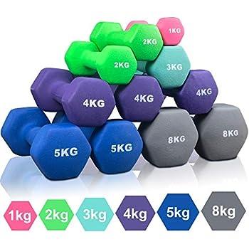 Arteesol Mancuernas 1kg 2kg 3kg 4kg 5kg 8kg Pesas de Neopreno1 Par para Hombres y Mujeres