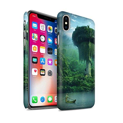 Offiziell Elena Dudina Hülle / Matte Snap-On Case für Apple iPhone X/10 / Berg-Lagune Muster / Fantasie Landschaft Kollektion Friedlicher Ort