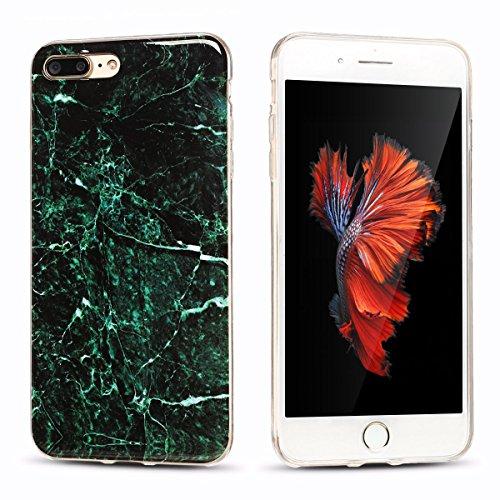 iPhone 7Plus Custodia, Marmo Design Pattern TPU sottile in silicone Custodia protettiva per iPhone 7Plus, E Lush cristallo trasparente trasparente antigraffio Custodia Ultra Chic Thin Morbido Custod verde scuro