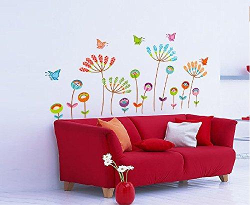 Colorful fiori decalcomanie rimovibile adesivi murali per Camera da letto Soggiorno TV Divano Sfondo Decor