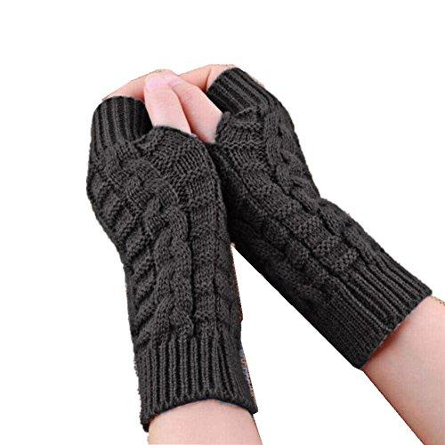 RETUROM nuevo color de los guantes sin dedos del brazo Moda de punto de invierno unisex suave manopla caliente (Gris)