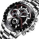 LIGE Herren Uhren Mode Wasserdicht Edelstahl Analog Quarzuhr Lässige Sport Chronograph Datum Schwarz Kleid Armbanduhr Männer