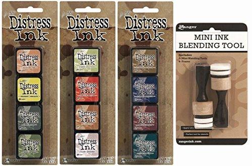 Ranger Tim Holtz Distress Mini Ink Pad Kits 10, 11, 12 and Mini Ink Blending Tool Bundle by Ranger Tim Holtz - Ink-pad-kit
