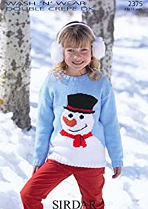 Sirdar Children's Christmas Snowman Sweater DK Knitting Pattern 2375 by Sirdar