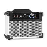 DJ-Tech Mini Cube BT Tragbares Mini PA Anlage Bluetooth Lautsprecher mit Akku (Kline-Mikrofon-Eingang, USB-Slot, 13 Watt RMS) weiß