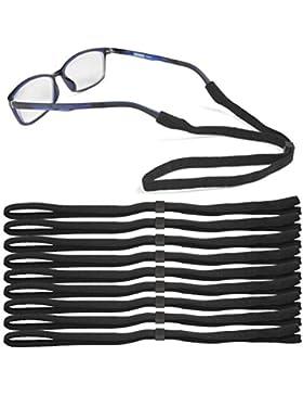 ATPWONZ 10pcs Correas Antideslizantes para Gafas Universal de Sol para Niños/Ancianos (Negro)