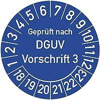 Geprüft nach DGUV Vorschrift 3 Prüfplakette, 100 Stück, in verschiedenen Farben und Größen, Prüfetikett Prüfsiegel Plakette DGUV V3