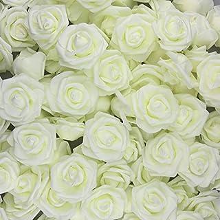 U'Artlines 30 Stück Künstliche Blumen Echt Aussehende Fake Roses W/Vorbau für DIY Hochzeit Blumensträuße Aufsteller Party Baby Dusche Home Office Shop Hotel Supermarkt Dekorationen (Weiß)