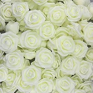 U'Artlines – 30 Rosas Artificiales de Aspecto Real con Tallo para Manualidades, Ramos de Boda, centros de Mesa, Fiesta…