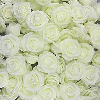 U'Artlines 30 Rosas Artificiales de Aspecto Real con Tallo para Manualidades, Ramos de Boda, centros de Mesa, Fiesta, Baby Shower, Oficina, Hotel, supermercado, Decoraciones