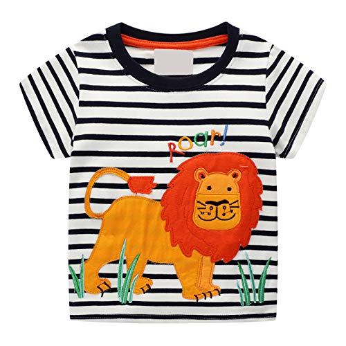 Kleiner Junge Kurzarm T-Shirt Gestreifte Baumwolle Cartoon Applique Lion Muster Sommermode Kinder Kleidung 1-8 Jahre Junge (Schwarz und Weiß) -