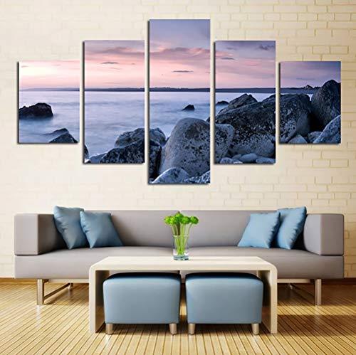 Mare tramonto paesaggio pittura, arte moderna paesaggio, 5 pannelli, pittura tela Wall Artist Residence decorazione della parete decorativa