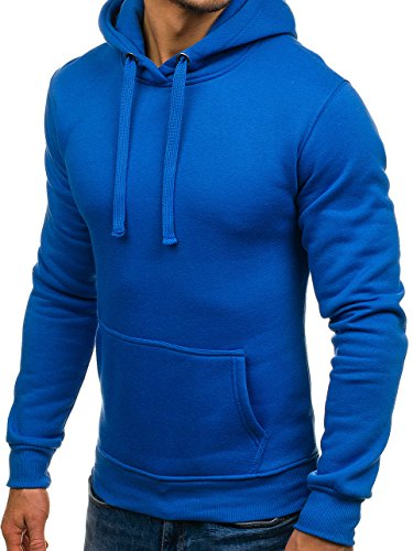 BOLF Felpa – Con cappuccio – Tasca canguro – Sportiva – Basic – Di cotone – Tinta unita - Da uomo 1A1 Blu