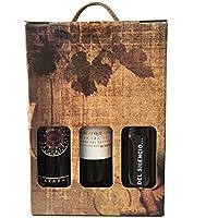 Estuche con vinos gourmet de Extremadura Palacio Quemado crianza, Habla del Silencio tinto crianza y Carabal Cávea crianza para regalo