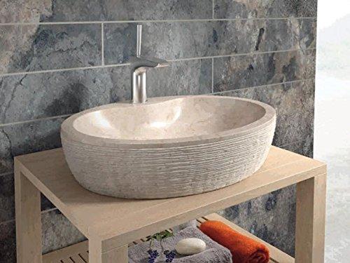 Bathco – Lavabo Bathco Sobre Encimera Piedra Santorini 55 Beige 550X400X120
