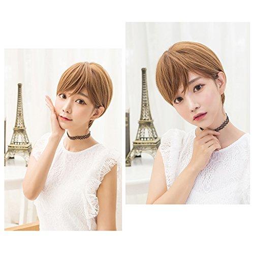 Chang Xiang Ya Shop Perruques Courtes réalistes Naturelles Perruques moelleuses de Dames Perruques Courtes de Mode de Couleur de Miel Perruques Belles de tête de Bobo