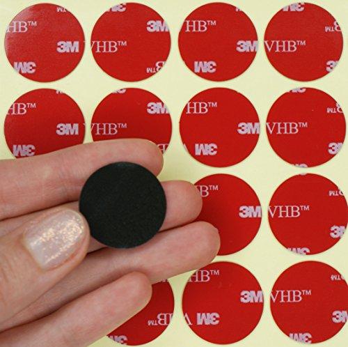 Simply the Best Círculos de espuma acrílica VHB de 3 m, doble cara, almohadillas adhesivas de 25 mm de diámetro x 0,64 mm de grosor, negro