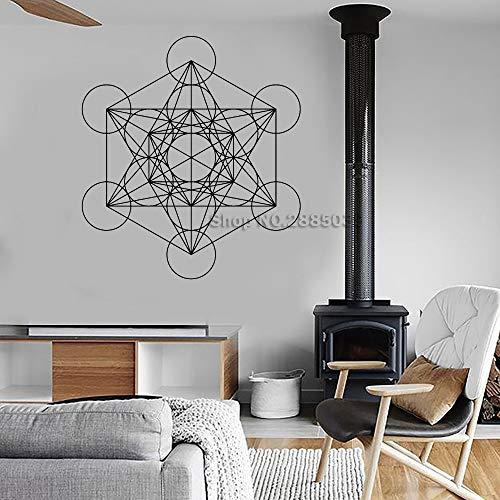 M 56 cm x 62 cm Würfel Geometrische Vinyl Wandtattoo Abnehmbare Wanddekor Büro Wandbild Einzigartiges Design Tapeten Moderne Vinilos Paredes -