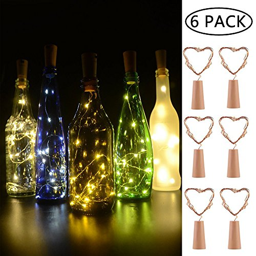 BizoeRade Flaschenlicht,6 Stück 30inch 15 LED Warmweiß Kupferdraht Lichter String Starry LED Lichter für Flasche DIY, Party, Dekor, Weihnachten, Halloween, Hochzeit oder Stimmung Lichter (Kleine Licht Süße)