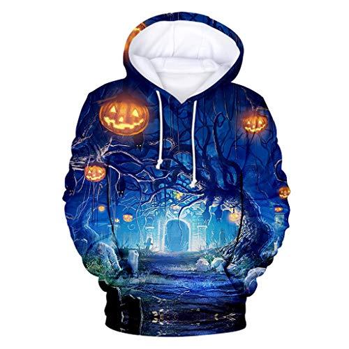 LILIGOD Frauen Langarm Pullover mit Kapuze Halloween Horror 3D Print Sweatshirt Party Langarm Hoodie Kapuzenpullover Lose Casual Kapuzen-Sweatshirt Bequem Streetwear Langarmshirts