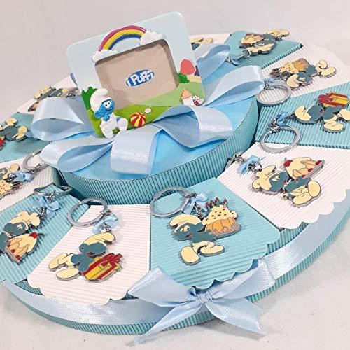 TORTA BOMBONIERE PUFFI Schlüsselanhänger + Bilderrahmen zur Taufe Baby (Schlumpf-kuchen)