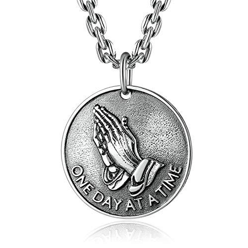 Aeici Anhänger Silber 925 Herren Münzanhänger mit Christlicher Gebetshand Halsketten Silber