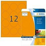 Herma 5153 Neonetiketten rund, neon orange (Ø 60 mm) 240 Farbetiketten, 20 Blatt DIN A4 Papier farbig matt, signalstark, bedruckbar, selbstklebend