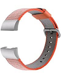 TOOGOO(R) Woven Nylon Replacement Watch Bands for Fitbit Charge 2 Silver Orange