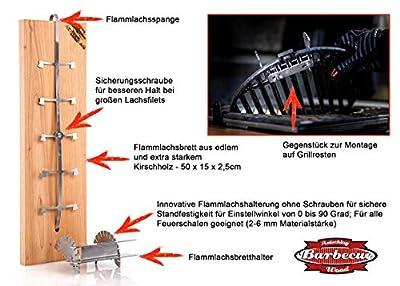 Axtschlag PREMIUM Flammlachsbrett Kirschholz extrastark, Patenthalterung für Feuerschalen, Smoker, Grill. Steckhalterung ohne Verschraubungen, für perfekten Flammlachs, Edelstahl