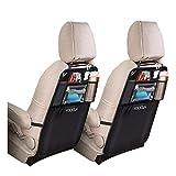 2 Stück Rückenlehnenschutz für Auto-Kick Matten Schutz wasserdicht mit 10'' iPad-Tablet-Halter Getränkehalter, Autositz-Schoner Kick-Matten-Schutz universeller mit Große Storage Organizer für Autositz