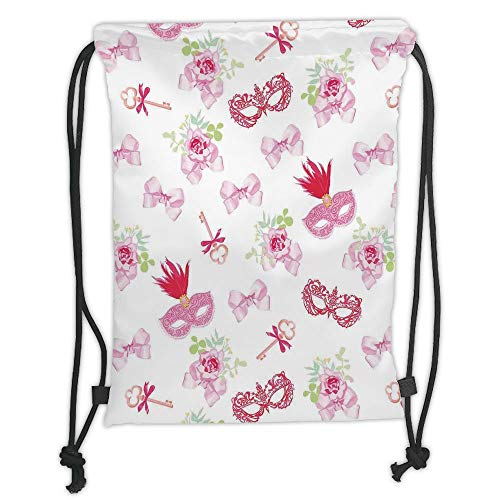 nted Drawstring Sack Backpacks Bags,Masquerade,Masks and Vintage Keys Floral Bouquets Bows Pattern in Party Themed Design,Pink and Green Soft Satin ()