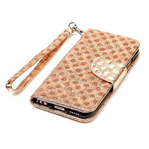 """MOONCASE iPhone 6/iPhone 6s Flip Cover, [Butterfly Pattern] Leder Handyhülle Built-in Ständer TPU Stoßfest Schutz-tasche Case für iPhone 6/iPhone 6s 4.7"""" Hotpink Golden"""