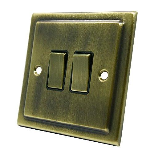 AET VAB2GSWIBB 10 2 22 Gang 2 Way Victorian latón Antiguo Interruptor