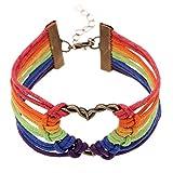 """Gudeke Pulsera trenzada del arco iris del orgullo de LGBT Gay amor del corazón cuerda de la cera para hombres y mujeres 7.1 """""""