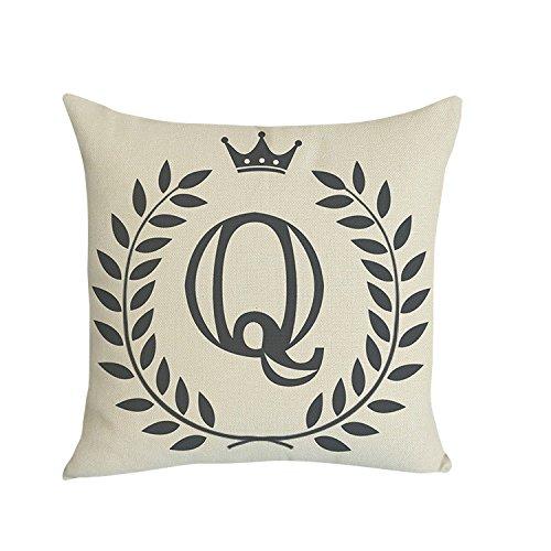 Xmiral Kissenbezug Englisches Alphabet Muster Baumwolle Leinen Pillowcase Zierkissenbezüge(Q)