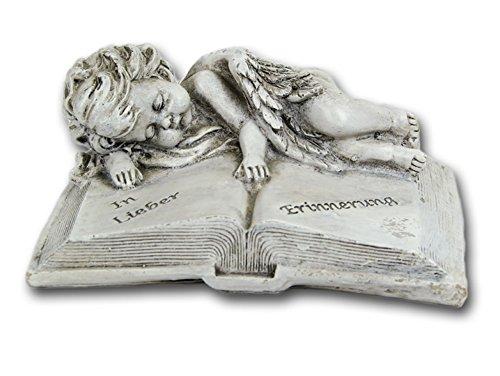 Grabschmuck Grabstein Buch mit Spruch Engel Gedenkstein Grabdeko Grab Deko (Engel Grabstein)