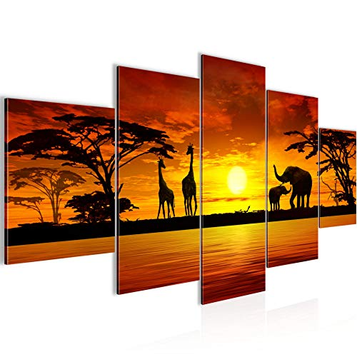 Bilder Afrika Sonnenuntergang Wandbild 200 x 100 cm Vlies - Leinwand Bild XXL Format Wandbilder Wohnzimmer Wohnung Deko Kunstdrucke Orang 5 Teilig - MADE IN GERMANY - Fertig zum Aufhängen 000251a -
