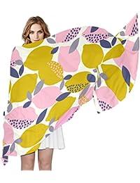 COOSUN Patrón limones Ligera bufanda de seda larga de la bufanda del abrigo del mantón de
